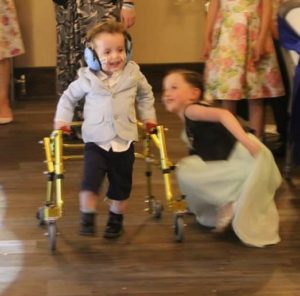 Little Wee Man on his walking frame at Wedding